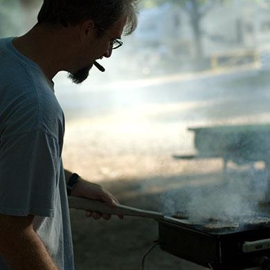 Steve grilling