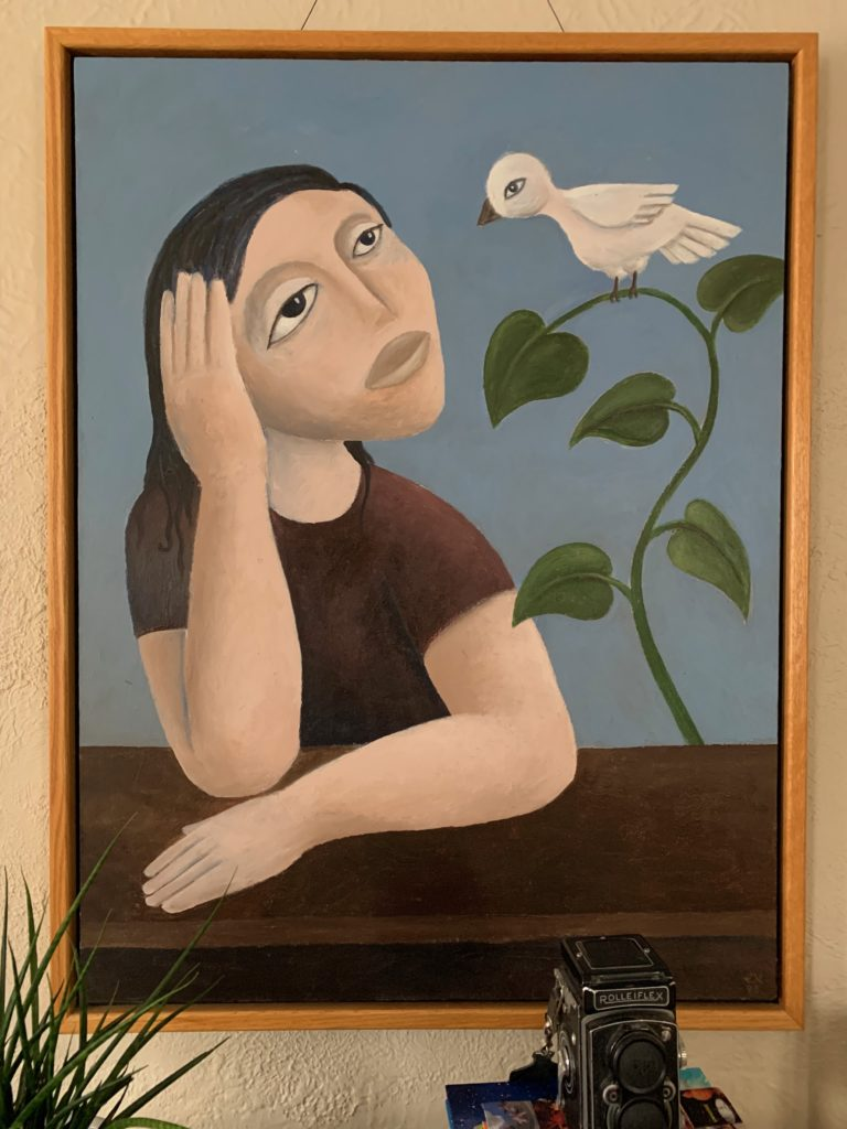 Girl and Bird oil painting